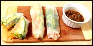 Veggie Spring Rolls with Dipping Sauce from *Lovely Avocados*